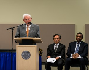 Henry Bloch addresses the 2013 class of EScholars at their April commencement exercise.