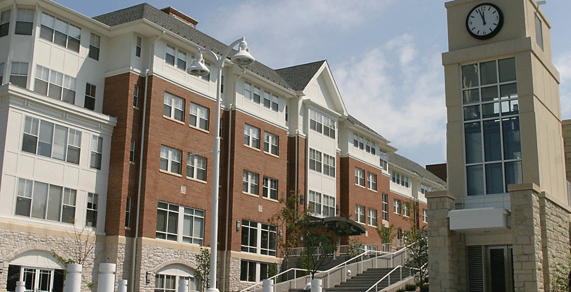 Oak Street Residence Hall and campus clock tower
