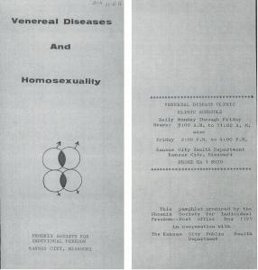 "A copy of a pamphlet titled ""Veneral Diseases and Homosexuality"""