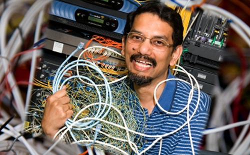Deep Medhi, professor of Computer Science and Electrical Engineering and UMKC Trustees' Faculty Fellow in the School of Computing and Engineering (SCE), is working to improve the Internet.
