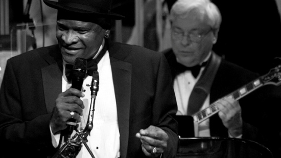 "Bobby Watson and his band performed on the Helzberg Hall stage with members of the Kansas City Symphony. Watson's new album, ""Check Cashing Day,"" is available on iTunes. Photo credit: Stephen Butler."