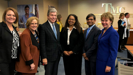 U.S. Senator Roy Blunt led a roundtable on the opioid crisis Oct. 15 at Truman Medical Centers. UMKC announced its newest grant to address the national problem. From left: Laurie Krom, Patricia Stilen, Blunt, Holly Hagle, Chancellor Mauli Agrawal, Ann Cary, dean of the School of Nursing and Health Studies