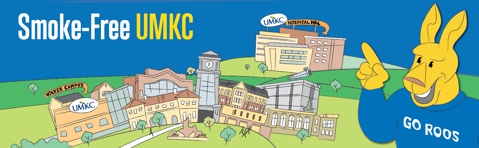 Illustrated Kasey the Kangaroo overlooking UMKC's Volker and Hospital Hill Campuses